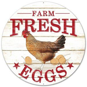 Farm Fresh Eggs Chicken Round Metal Wreath Sign